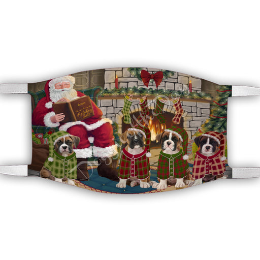Christmas Cozy Holiday Fire Tails Boxer Dogs Face Mask FM48615