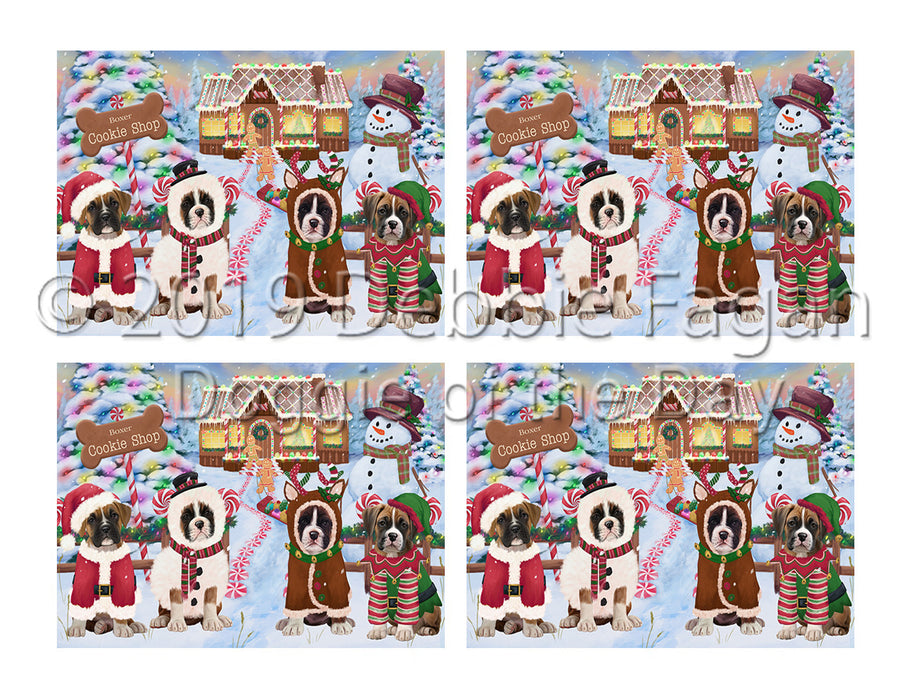 Holiday Gingerbread Cookie Boxer Dogs Placemat
