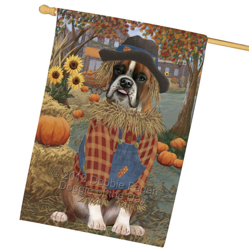 Halloween Round Town And Fall Pumpking Scarecrow Both Boxer Copy Dogs Garden Flag GFLG65641