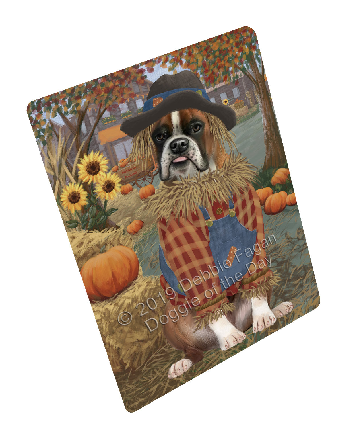 Halloween 'Round Town And Fall Pumpkin Scarecrow Both Boxer Copy Dogs Large Refrigerator / Dishwasher Magnet RMAG104676