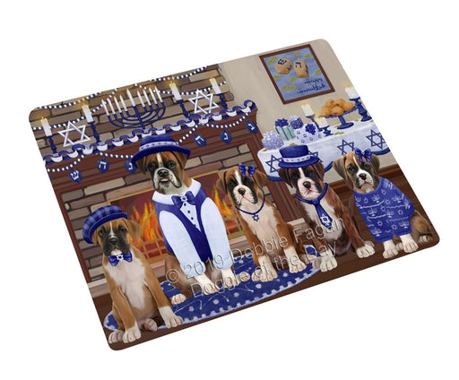 "Happy Hanukkah Family and Happy Hanukkah Both Boxer Dogs Magnet MAG77605 (Mini 3.5"" x 2"")"
