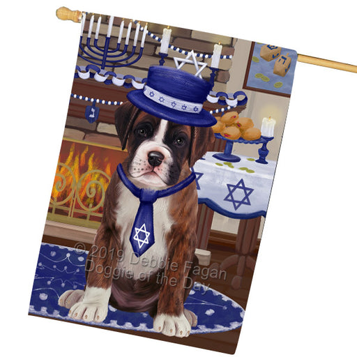 Happy Hanukkah Family and Happy Hanukkah Both Boxer Dog Garden Flag GFLG65702