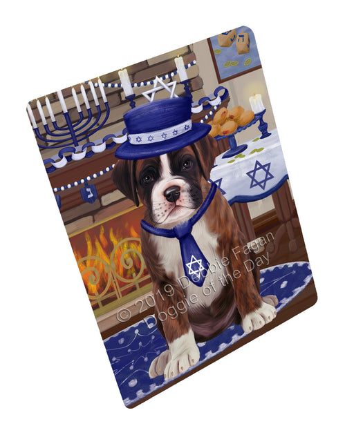 "Happy Hanukkah Family and Happy Hanukkah Both Boxer Dog Magnet MAG77437 (Mini 3.5"" x 2"")"