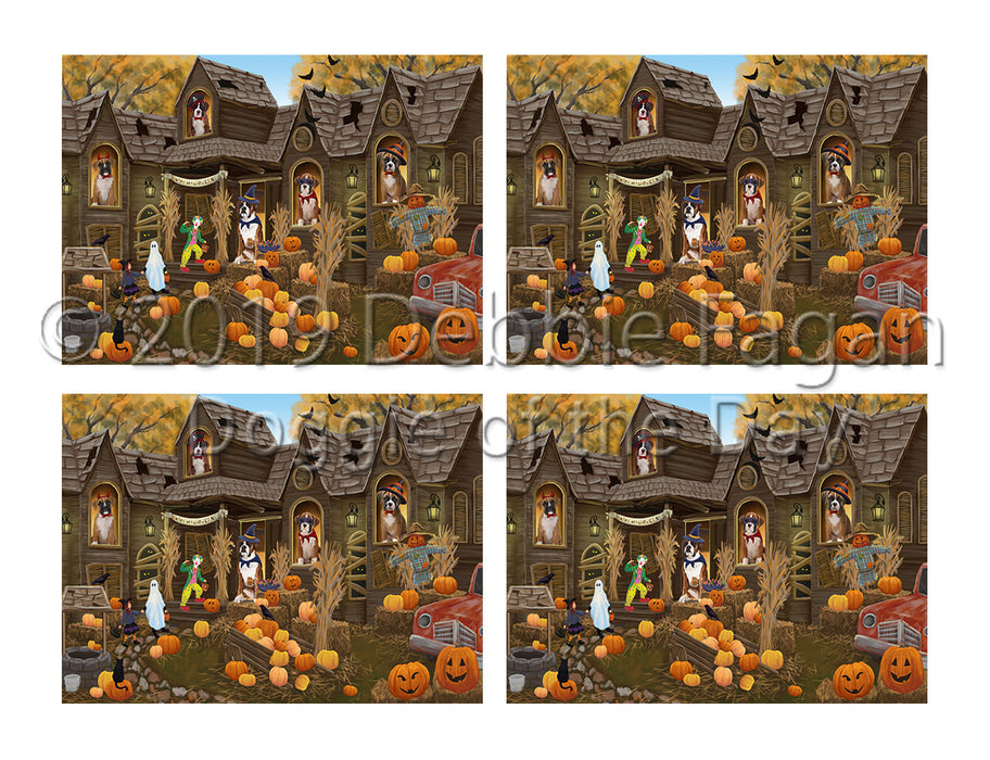 Haunted House Halloween Trick or Treat Boxer Dogs Placemat