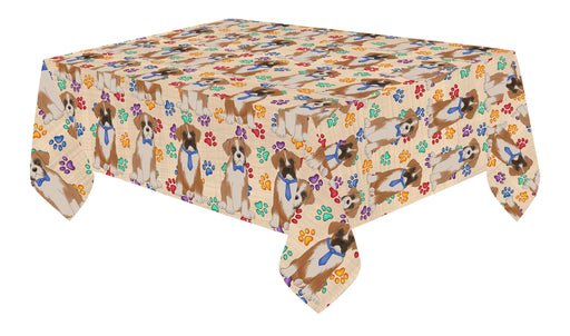 Rainbow Paw Print Boxer Dogs Blue Cotton Linen Tablecloth