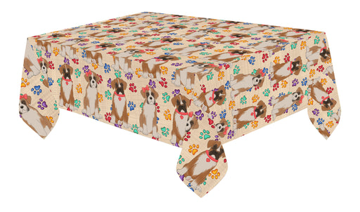 Rainbow Paw Print Boxer Dogs Red Cotton Linen Tablecloth