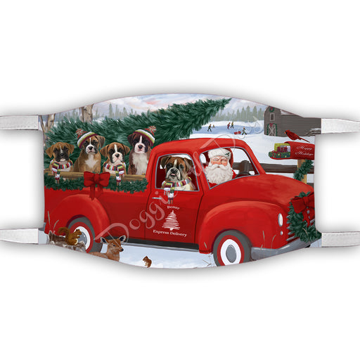 Christmas Santa Express Delivery Red Truck Boxer Dogs Face Mask FM48421