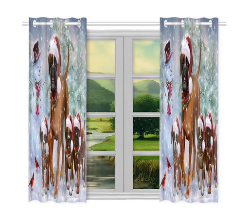 Christmas Running Fammily Boxer Dogs Window Curtain