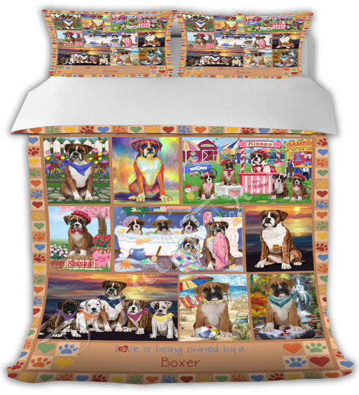 Love is Being Owned Boxer Dogs Beige Bed Duvet Cover DVTCVR50709