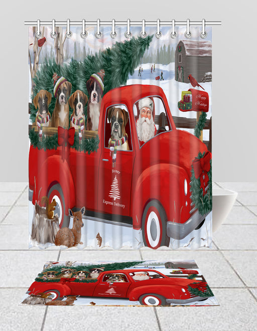 Christmas Santa Express Delivery Red Truck Boxer Dogs Bath Mat and Shower Curtain Combo