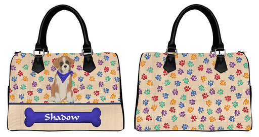 Custom Personalized Blue Paw Print Boxer Dog Euramerican Tote Bag Boxer Dog Boston Handbag