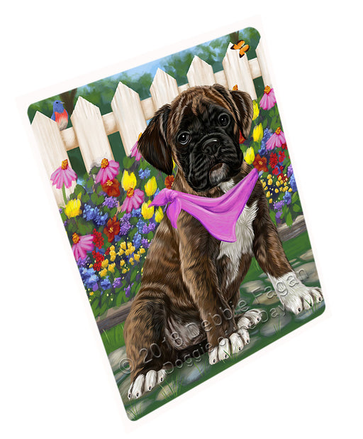 Spring Floral Boxer Dog Tempered Cutting Board C53301