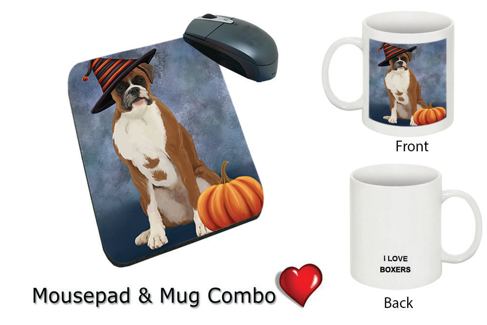 Happy Halloween Boxer Dog Wearing Witch Hat with Pumpkin Mug & Mousepad Combo Gift Set MPC50329