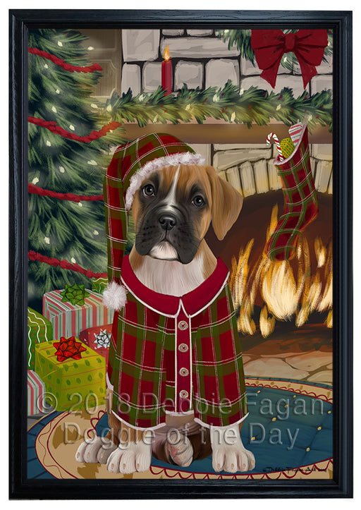 The Stocking was Hung Boxer Dog Framed Canvas Print Wall Art FCVS176129