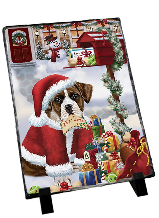 Boxer Dog Dear Santa Letter Christmas Holiday Mailbox Sitting Photo Slate SLT57493
