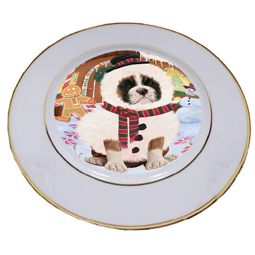 Christmas Gingerbread House Candyfest Boxer Dog Porcelain Plate PLT54560