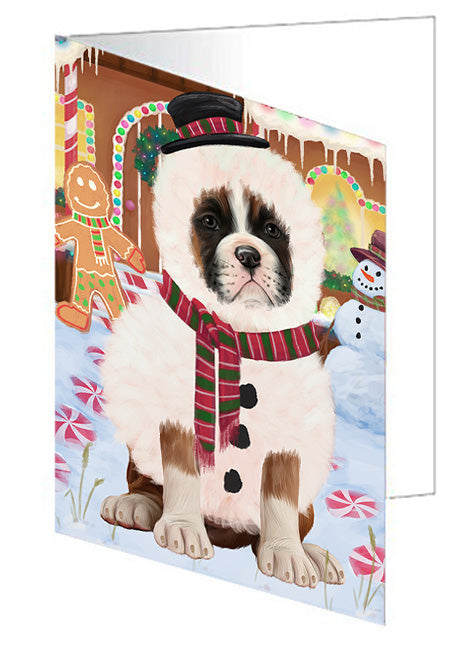 Christmas Gingerbread House Candyfest Boxer Dog Note Card NCD73148