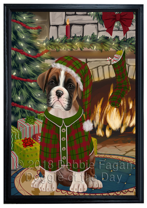 The Stocking was Hung Boxer Dog Framed Canvas Print Wall Art FCVS176146