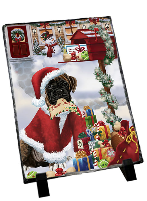 Boxer Dog Dear Santa Letter Christmas Holiday Mailbox Sitting Photo Slate SLT57494