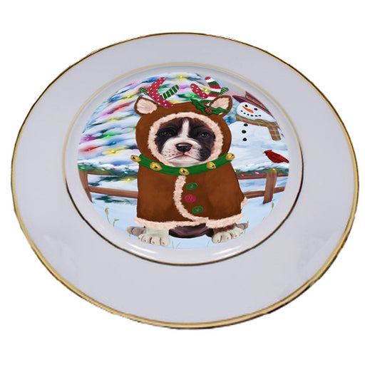 Christmas Gingerbread House Candyfest Boxer Dog Porcelain Plate PLT54561