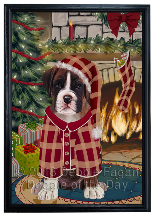 The Stocking was Hung Boxer Dog Framed Canvas Print Wall Art FCVS176163