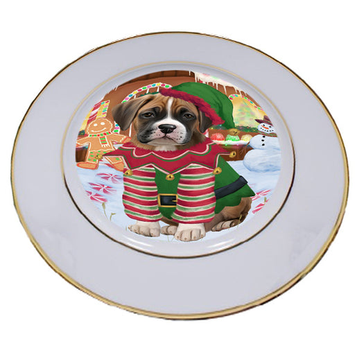 Christmas Gingerbread House Candyfest Boxer Dog Porcelain Plate PLT54562