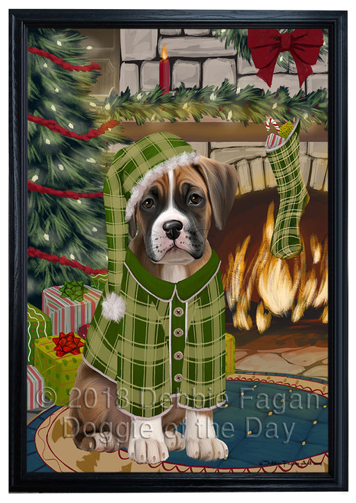 The Stocking was Hung Boxer Dog Framed Canvas Print Wall Art FCVS176180