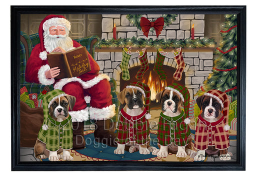 Christmas Cozy Holiday Tails Boxers Dog Framed Canvas Print Wall Art FCVS173885