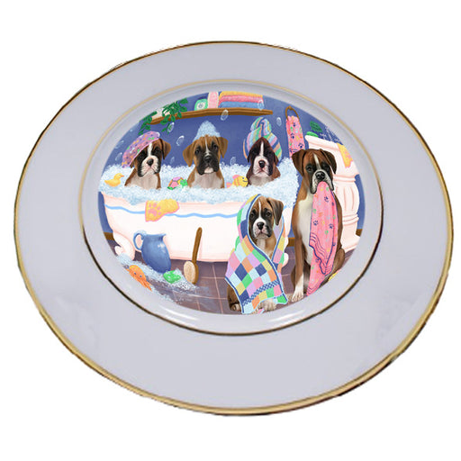 Rub A Dub Dogs In A Tub Boxers Dog Porcelain Plate PLT55121