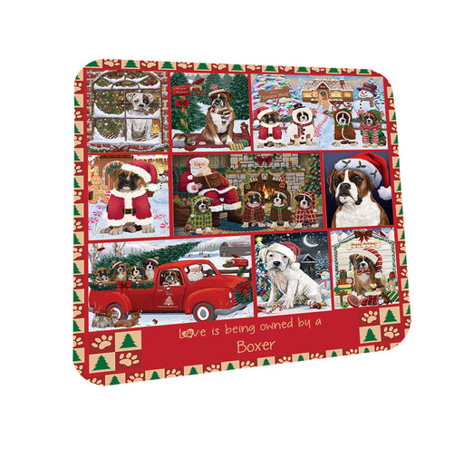 Love is Being Owned Christmas Boxer Dogs Coasters Set of 4 CST57166