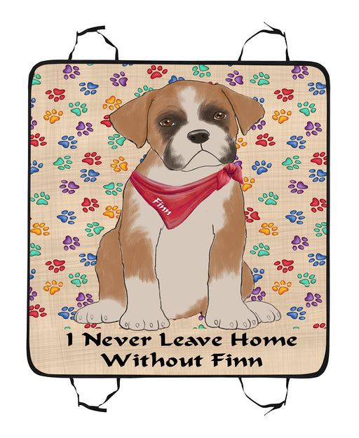 Personalized I Never Leave Home Paw Print Boxer Dogs Pet Back Car Seat Cover