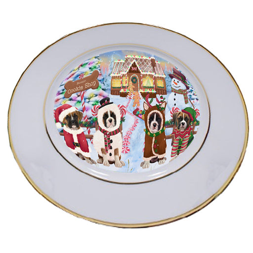 Holiday Gingerbread Cookie Shop Boxers Dog Porcelain Plate PLT54733