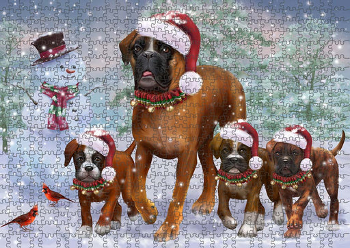 Christmas Running Family Boxers Dog Puzzle with Photo Tin PUZL90064