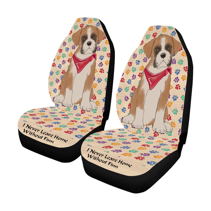 Personalized I Never Leave Home Paw Print Boxer Dogs Pet Front Car Seat Cover (Set of 2)