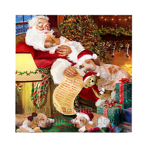 Santa Sleeping with Bracco Italiano Dogs Square Towel