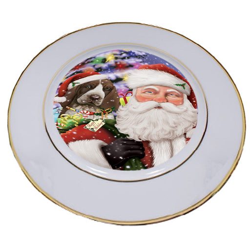 Santa Carrying Bracco Italiano Dog and Christmas Presents Porcelain Plate PLT53840