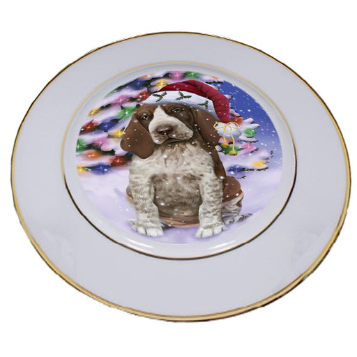 Winterland Wonderland Bracco Italiano Dog In Christmas Holiday Scenic Background Porcelain Plate PLT54038