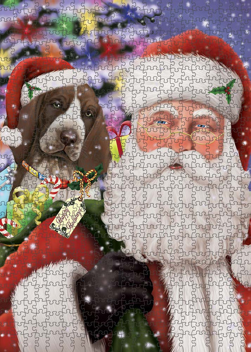 Santa Carrying Bracco Italiano Dog and Christmas Presents Puzzle with Photo Tin PUZL90168