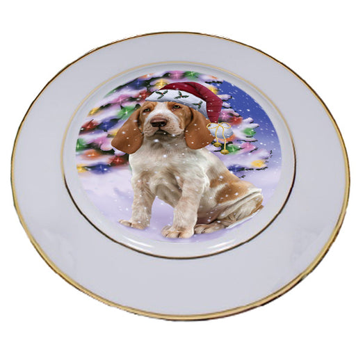 Winterland Wonderland Bracco Italiano Dog In Christmas Holiday Scenic Background Porcelain Plate PLT54039