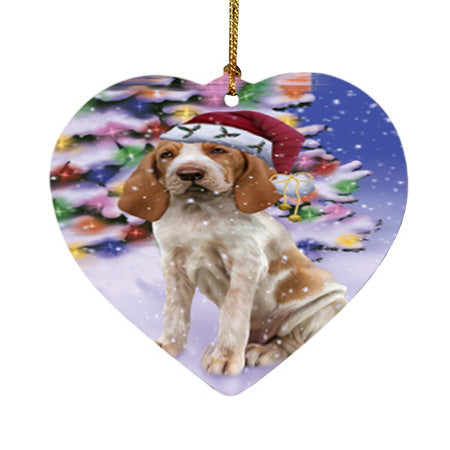 Winterland Wonderland Bracco Italiano Dog In Christmas Holiday Scenic Background Heart Christmas Ornament HPOR56046