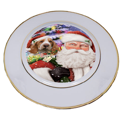 Santa Carrying Bracco Italiano Dog and Christmas Presents Porcelain Plate PLT53841