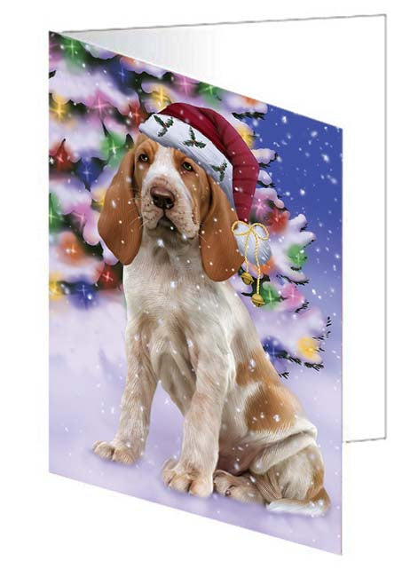 Winterland Wonderland Bracco Italiano Dog In Christmas Holiday Scenic Background Greeting Card GCD71585