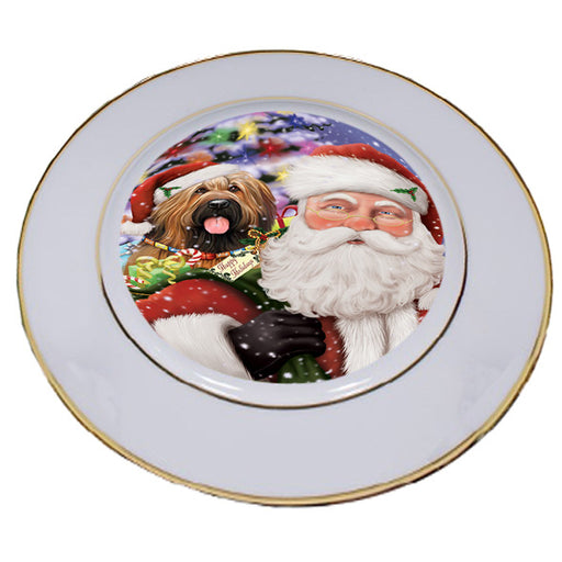 Santa Carrying Briard Dog and Christmas Presents Porcelain Plate PLT53842