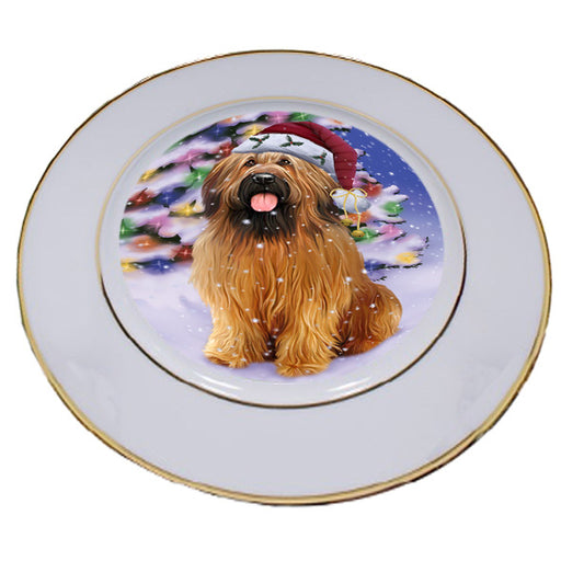 Winterland Wonderland Briard Dog In Christmas Holiday Scenic Background Porcelain Plate PLT54040