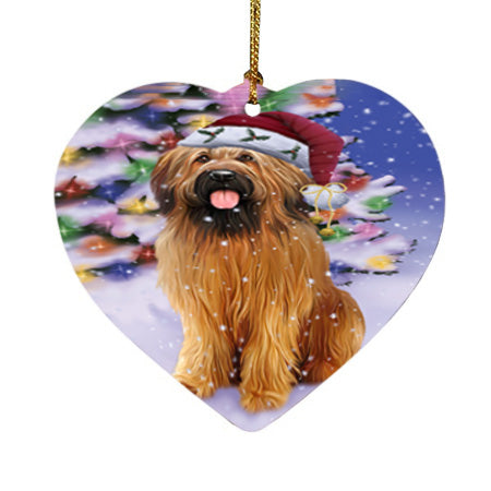 Winterland Wonderland Briard Dog In Christmas Holiday Scenic Background Heart Christmas Ornament HPOR56047
