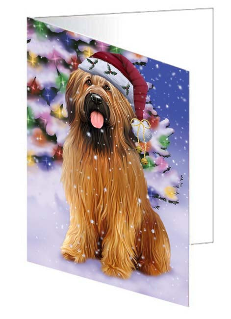 Winterland Wonderland Briard Dog In Christmas Holiday Scenic Background Note Card NCD71588