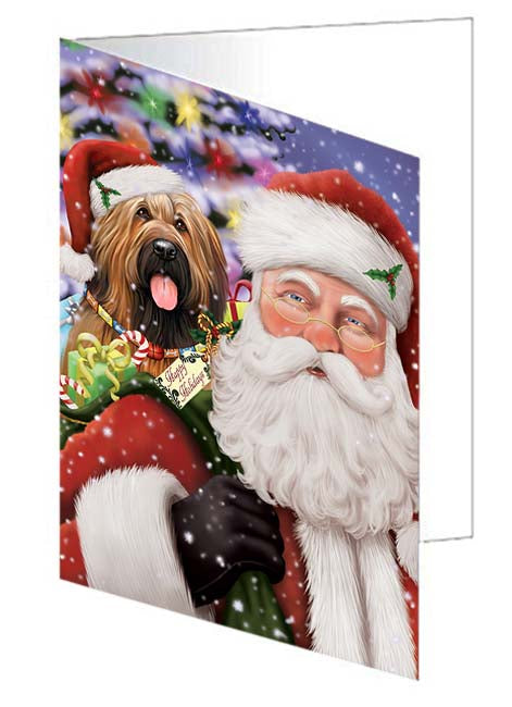 Santa Carrying Briard Dog and Christmas Presents Note Card NCD70994