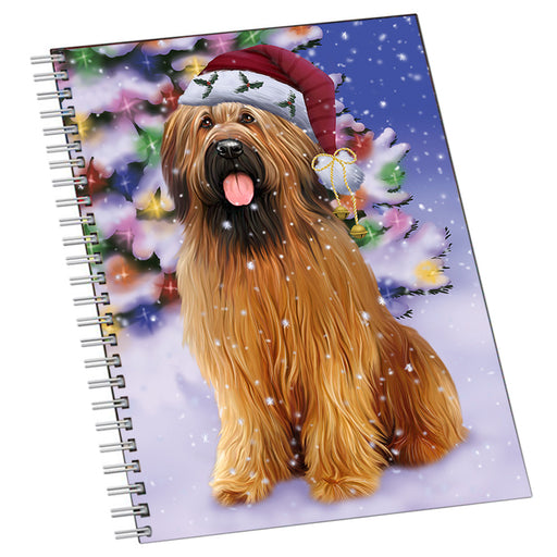 Winterland Wonderland Briard Dog In Christmas Holiday Scenic Background Notebook NTB54239
