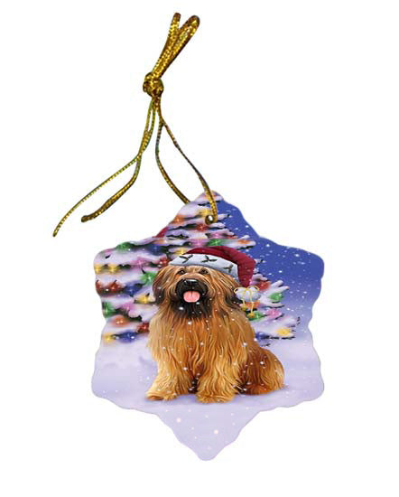 Winterland Wonderland Briard Dog In Christmas Holiday Scenic Background Star Porcelain Ornament SPOR56047