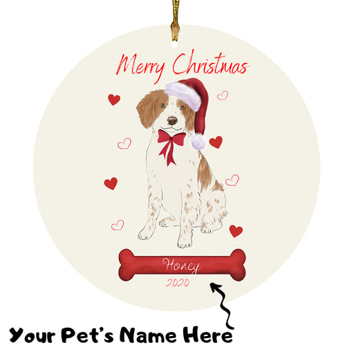 Personalized Merry Christmas  Brittany Spaniel Dog Christmas Tree Round Flat Ornament RBPOR58929